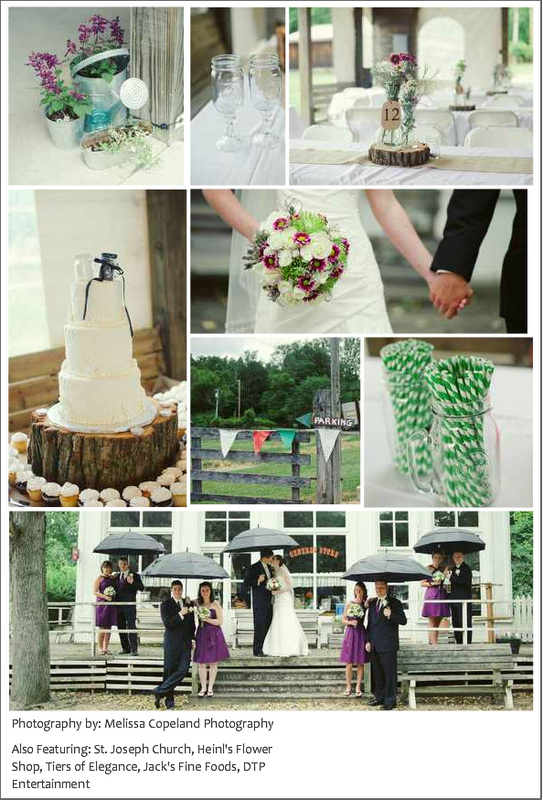 green and purple wedding details