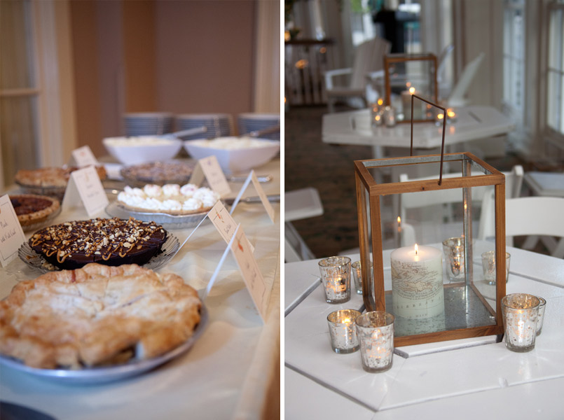 lantern centerpieces and pie wedding reception