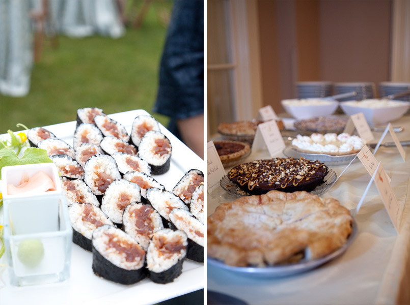 serving sushi and pie at wedding
