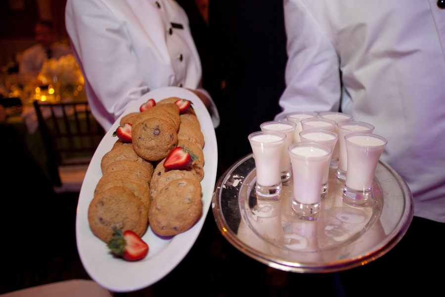 cookies and milk at wedding