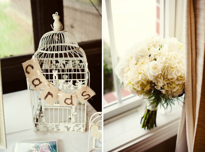 Vintage birdcage and wedding bouquet