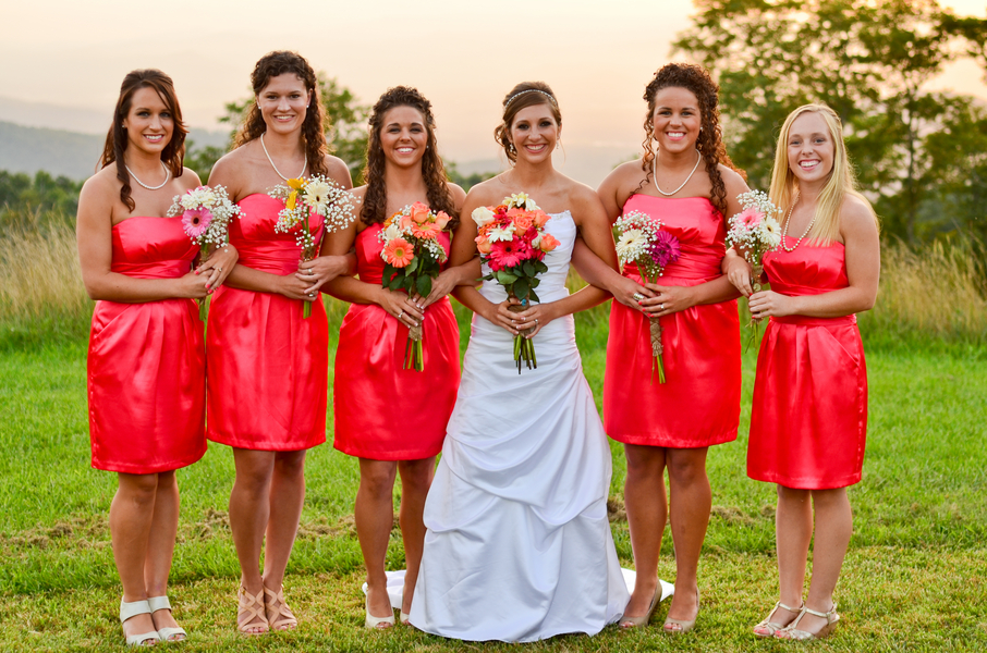 melon bridesmaid dresses