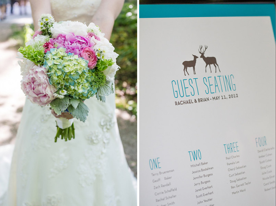 pink and green flower bouquet and deer seating chart