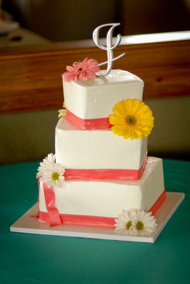 wedding cake with melon colored