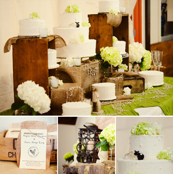 Green and white rustic wedding cake and decorations