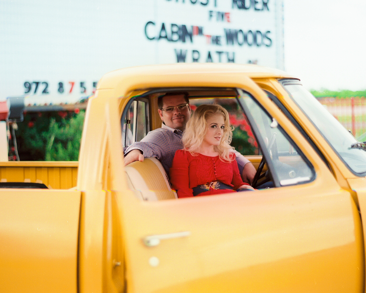 drive in movie engagement pictures