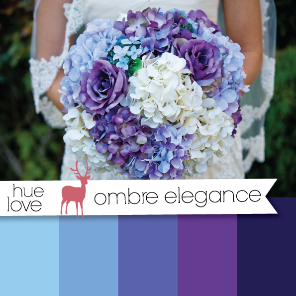 blue and purple  ombre wedding  bouquet