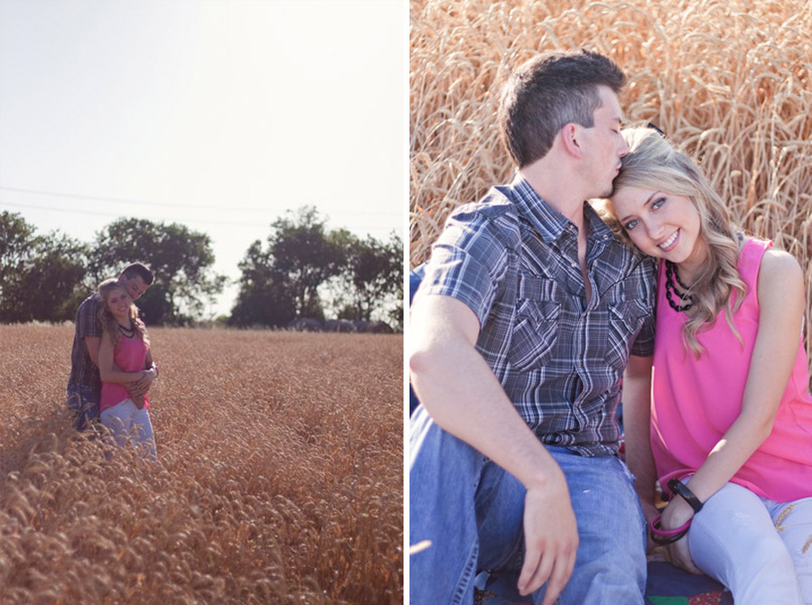Texas wheat field engagement session