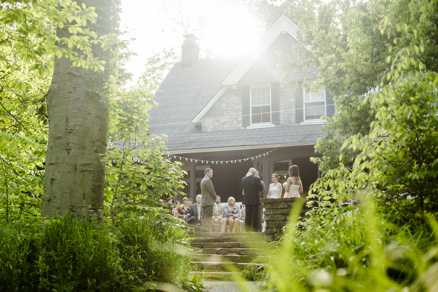 outdoor woodlands wedding ceremony